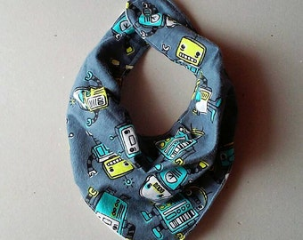 Robots bandana bib , drool bib , baby shower gift, baby accessories, snap closure bib