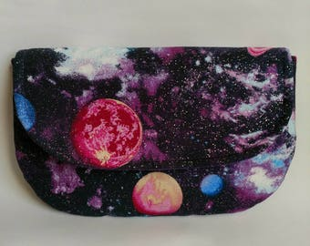 Galaxy outer space make up bag cosmetic envelope clutch purple metallic magnetic snap pink purple planets solar system Saturn astronomy star