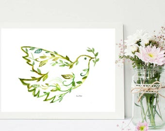 Peace printable Dove of Peace Christmas Dove Floral Dove  Wall Art  Inspirational Painting  Peace Print Downloadable  Poster World Peace