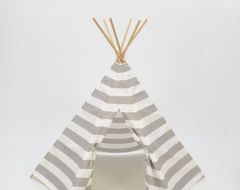 SALE!! Poles Included Teepee Play Tent gray grey and white stripe - 6 panel