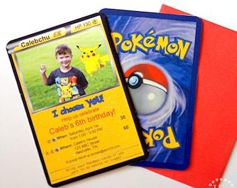 Pokémon EX Custom PRINTABLE Birthday Invitation with PHOTO