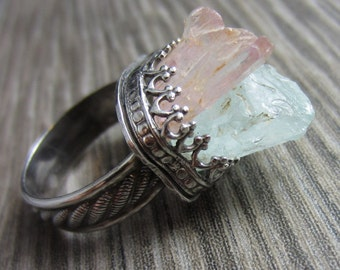 Raw Kunzite and Aquamarine Ring in Sterling Silver