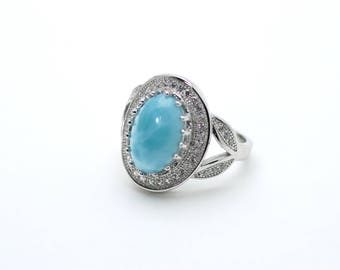 Larimar AAA 100% Natural .925 Sterling Silver Select your Larimar Ring Size 8.5