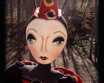 Primitive Folk Art Ladybug Doll