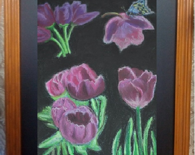 "11x14 Original Pastel Painting, Purple Tulips Black Background, Flowers, Soft Pastels, ""Celebrating Tulips"""