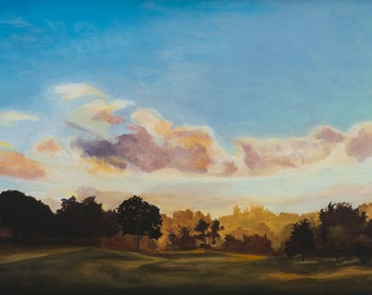 Green Hill Park at Sunset, Archival Giclee print by Cynthia Woehrle