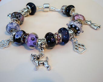Los Chihuahua European Charm Bracelet eggplant, plum and black Murano beads paw prints crystal You pick size Help save cat/kitten