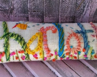 Freehand Embroidered Bohemian Letters Name Pillow Custom Made NINE  Letters YelliKelli