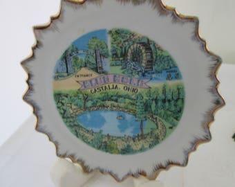 The Blue Hole Ohio Souvenir Plate Castalla Ohio Plate Blue Hole plate Ohio Defunct attraction souvenir Blue Hole souvenir state plate