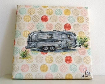 "Vintage Style year painting 50 ""Free life""cotton canvas."