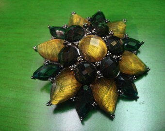 Vintage 1990s Emerald Green And Gold Star Burst Brooch