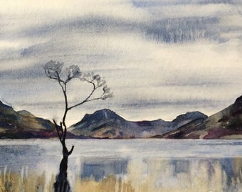 Lake District, Buttermere, Cumbria, English countryside, English landscape, lake mountain, England, landscape watercolor, landscape painting