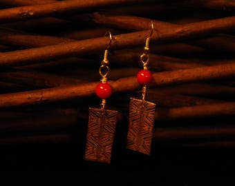 Etched Bronze rectangle Earrings with red coral beads