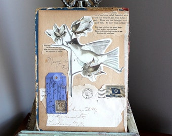 Vintage Birds Original Collage on Book Cover