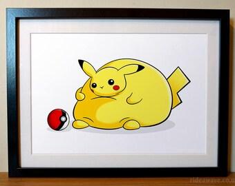 Pikachu Print, Pokemon Gift, Fat Pikachu, Pokemon Print, Pikachu Gift, Funny Pokemon, Cute Pikachu, Fat Pokemon, Pokemon, Pikachu, Print,