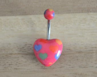 Pink and Multi Colored Heart Print Heart Shape Acrylic Belly Button Ring Navel Body Piercing Jewelry