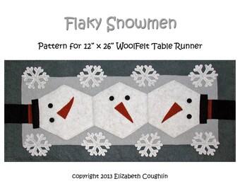 PDF pattern for a 12 x 26 inch WoolFelt table runner: Flaky Snowmen