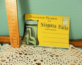 Niagara Falls Souvenir Folder, Vintage Illustrated Pictures, Canada, Fold Out Souvenir Booklet