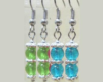 Colorful Double Glass Bead & Silver Earrings, Stacked Round Glass Bead Earrings w/Silver Accents, Petite Handmade Dangle Silver Earrings