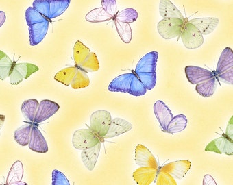 Butterflies - Yellow 1009-44 by Henry Glass Cotton Fabric Yardage