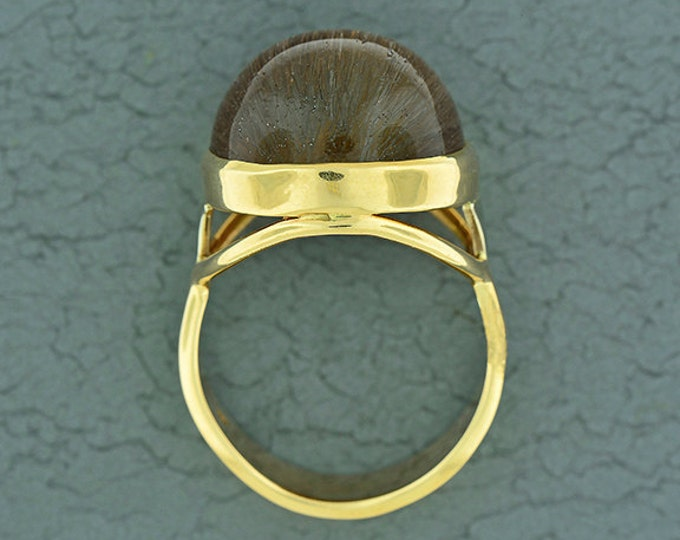 Unique Rutile and Quartz Cat's Eye Ring in 14kt Yellow/White Gold