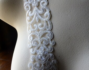 Silver & Off White Beaded Lace Trim for Bridal, Sashes, Straps. Headbands, Costumes BL 106