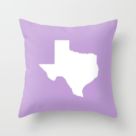 Texas Throw Pillow . Lavender Pillow . Texas Cushion . Amethyst Texas Pillow . Texas Pillow  Texas State Cushion Texas Gift 14 16 18 20 inch