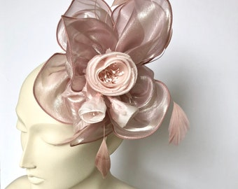 Dusty Pink Kentucky Derby Fascinator Derby Dusty Pink Easter Hat Dusty Pink Church Hat