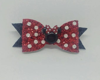 Minnie Mouse Red and Black Hair Bow