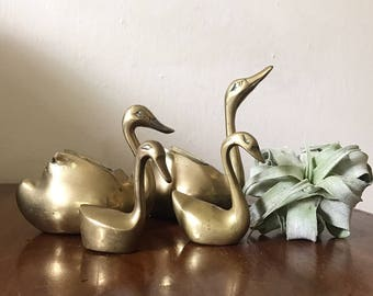 Set of 4 brass swans
