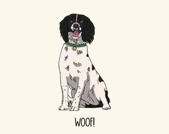 English Springer Spaniel Postcard: Woof!