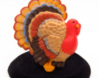 Turkey Pin Brooch Vintage Thanksgiving Fall Hallmark Plastic Holiday
