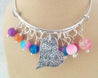 Charm Bracelet, Textured, Adjustable Bangle, Aluminium, Beads, Gift for Her,