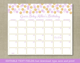 Cute Glitter Baby Due Date Calendar / Glitter Baby Shower / Birthday Predictions / Purple & Gold / INSTANT DOWNLOAD Editable PDF A119