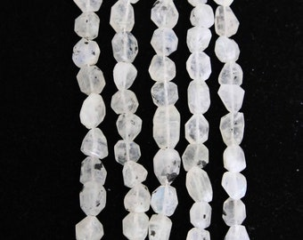 Moonstone, 8-12 mm, Rainbow Moonstone, Faceted Nugget, Natural Stone, Semi Precious, White Bead, Gemstone Bead, Full Strand, AdrianasBeads