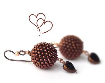 "Beaded Bead earrings ""Chocolate"" Niobium Earring Hooks Chocolate Brown Copper Minimalist Beadwork Jewelry Modern"