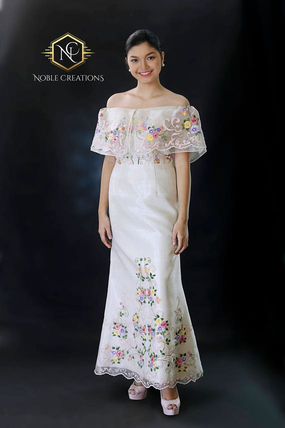 FILIPINIANA Dress Hand-painted and Embroidered Maria
