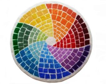 Round wool rug, Felted rugs, Meditation Mat, Merino round rug, Hand felted round rug, rainbow, Felted wool play mat, OOAK small carpet