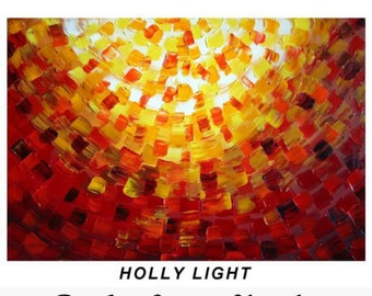 HOLLY LIGHT Original Abstract Modern Religious Impasto Palette Knife Oil Painting CUSTOM Art by Luiza Vizoli 48x30