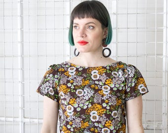One Off Retro Scallop Top - Vintage Fabric - Handmade by Alice