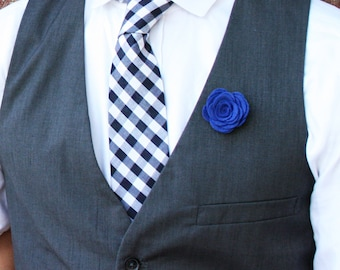 Wool Felt Flower Lapel Pin - Blue