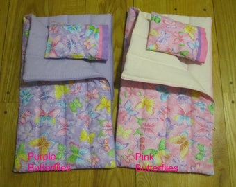15 to 18 inch Doll Sleeping Bag and Pillow this fits 18inch American Girl Dolls  Bitty Baby Dolls  Cabbage Patch Kids Glittery Butterflies