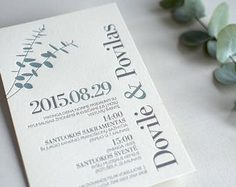 100 Cotton Paper Eucalyptus Letterpress Wedding Invitation