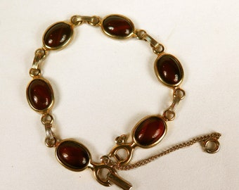 Vintage Sarah Coventry Cappuccino Brown Cabochon Glass Bead Bracelet, Gold Filled