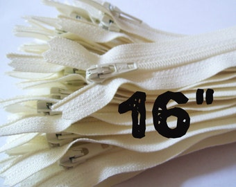 16 Inch vanilla YKK zippers, Ten pcs, ivory, off white, YKK color 121, dress, all-purpose, sewing supplies