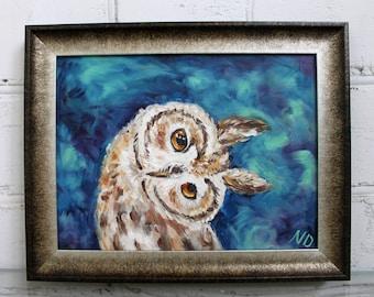 Owl Painting Original Oil Painting Framed Painting Canvas Art Bird Painting Owl Art Framed Art Bird Art