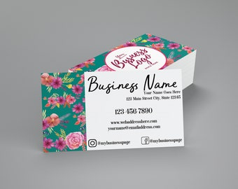 Turquoise and Floral Business Cards