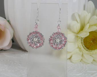 Woven Dangle Earrings in Light Pink and Silver Gifts for Her