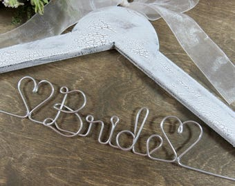 Bride Hangers - Wedding Dress Hangers - Bridal Accessories - Bride Coat Hangers - Personalized Hangers - Wedding Day - Rustic Wedding - Gift