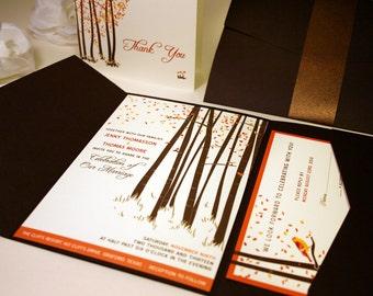 SAMPLE Fall Forest Wedding Invitation with Love Bird, Pocketfold, Rustic Wedding Invitations, Burnt Orange Brown, Printable, Outdoor Wedding